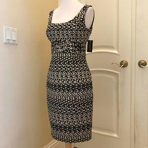 NWT Jones New York black and metallic ivory dress